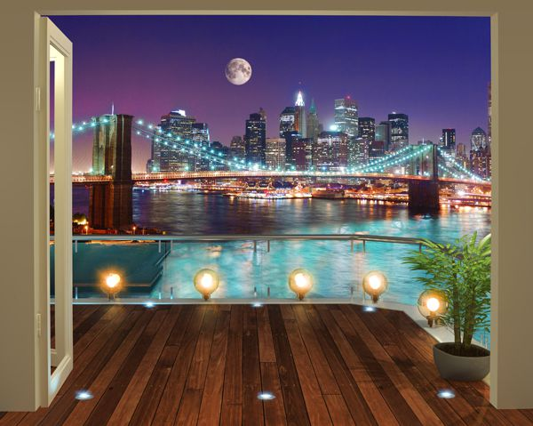 Walltastic Brooklyn Bridge NYC Wallpaper Mural - 43626